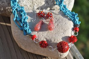 Turquoise & Red Earrings by copper9lives