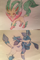 FAKE - 470 - Mega Leafeon and 471 - Mega Glaceon by Tails19950