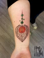 Abstract physalis gooseberry tattoo by Electronic-Sin
