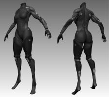 WIP sculpted cyborg body by fusobotic