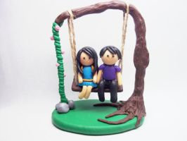 Love's Full Swing - Polymer Clay Chibi Figurine by AutumnLeong
