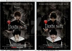 DN Movie Poster fake/original comparison by Arasca