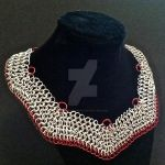 Red and Silver Angled Chainmaille Necklace by Rosie-Periannath