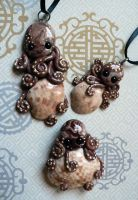 Calico Clam Octopus Trio by BlackMagdalena