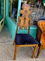 Chair with Blue Velvet Seat by Baq-Stock