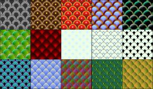 15 vector fish and serpent scale patterns by Owhl