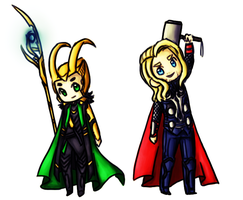Chibi Loki and Thor by Jakie-boi