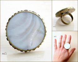 Cocktail Statement Ring with Cream Pearl Shell by IoannaEvans