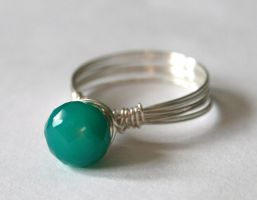 Green Onyx Wire Wrapped Ring by WrappedbyDesign