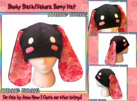 Blushy Bunny Hat - Black and Sakura by AnimeNomNoms