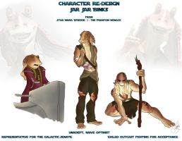 Character Redesign Jar Jar Binks by Lydia-Burns