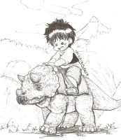 Max riding Triceratops by dcrisisbeta