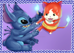 Stitch and Jibanyan by ElendichElipse