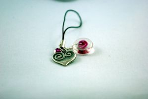 Pink Heart Cell Phone Charm by michelleaudette