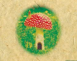 Wallpaper - Mushroom House by punksafetypin