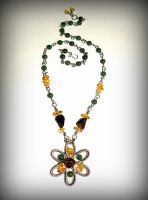 Baltic amber and green jade flower necklace (1) by marsvar