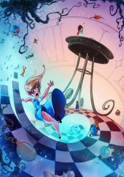 The Rabbit Hole - Alice is falling to Wonderland. by TansaKourti