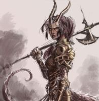 Tiefling axe maiden warrior by dreamflux1