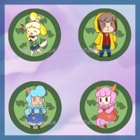 Animal Crossing buttons by Lyndarsia
