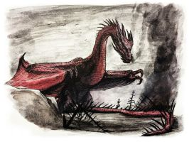 Smaug watercolor by eatalllot