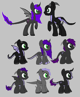 Umbra x Cognac foals for crazy-peach-adopt by WolfiesAdopts