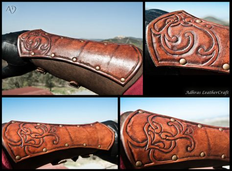 Renaissance Style Bracers - Reddish Brown Version by Adhras