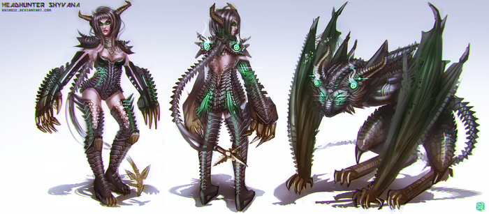 League of Legends_Shyvana_Headhunter_Conceptart by Kashuse