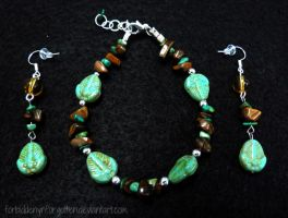 Trilobite Bracelet and Earring Set by Forbiddenynforgotten