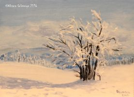 Winter Trees - oil by Oksana007