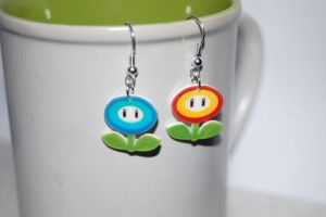 Mario fire ice flower earrings by knil-maloon