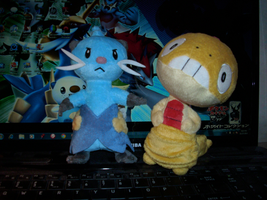 PKMN-Dewott and Scraggy Plushies by rosa-pegasus