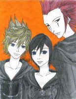 Xion, Axel, and Roxas by ChibiKyuu