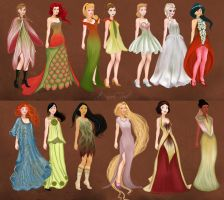 Disney Princesses in Fantasy Flowers Fashion by BasakTinli