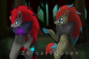 .: Commish :. Zora and Denal by ZoroarkQueen