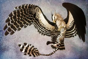 Black and white striped Gryphon by fiszike