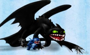 Stitch and Toothless by Arvata