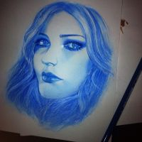 Avril Lavigne in blue color SKETCH by Aeriz85