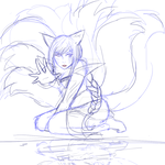 Ahri Sketch by BubbleChii