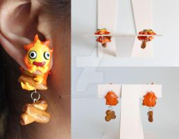 Calcifer Polymer Clay Earrings by ArtzieRush