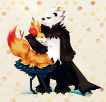 Braixen X Pangoro by SweetKarleeta