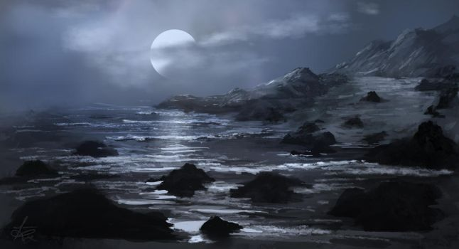 Moonrise over cove by jjpeabody