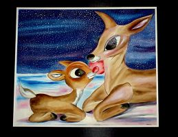 Rudolph watercolor painting by thedarkdeviantknight