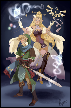 The goddess and her knight by flopicas