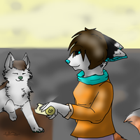 Here,have a piece of bread! ^w^ :FA: by starrytesukidust