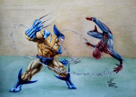 Wolverine VS Spiderman by ochopanteras