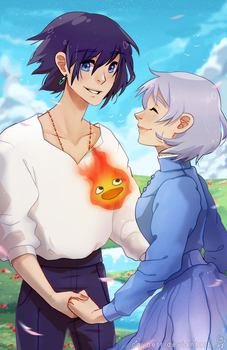howl and sophie by caydett