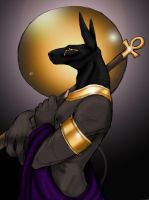 Anubis for Mausichan -COLOR- by xaotl