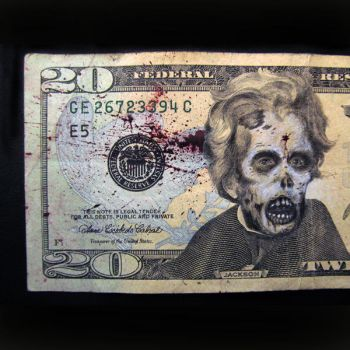 Currency art $20 Zombie by JeffArnoldArt