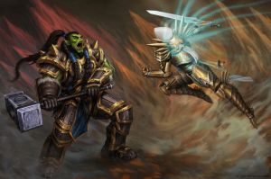 Thrall vs Tyrael by lainad007