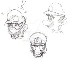 Luigi sketches by koshechkazlatovlaska